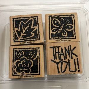 Stampin' Up! set of four rubber stamps thank you